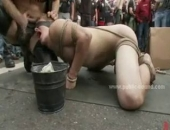 bound hunks get humiliated outdoors