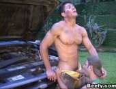 Hot gay with big muscles fucking while fixing a car and gives nice cumshots. Hardcore gay beefy fuckers having anal sex.