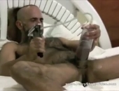 hairy dom dude wanking his thick pumped cock