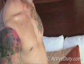 Hottie Joey with a sexy body and hot tattoos jerking his big juicy cock.