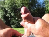 Pissing, wanking and cumming in the warm aussie afternoon sun ... in the backyard ... wonder if the neighbours were watching?