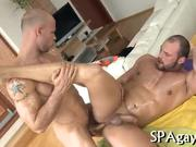 Hot hunk is getting his pecker sucked by gay masseur