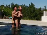 Large tits shemale babe Danika Dreamz gets nasty hot with her lover stud while they are in the pool. They take turns sucking their rock hard dicks then she gets anal screwed. She returns the favor once they got inside the house by fucking also his ass.